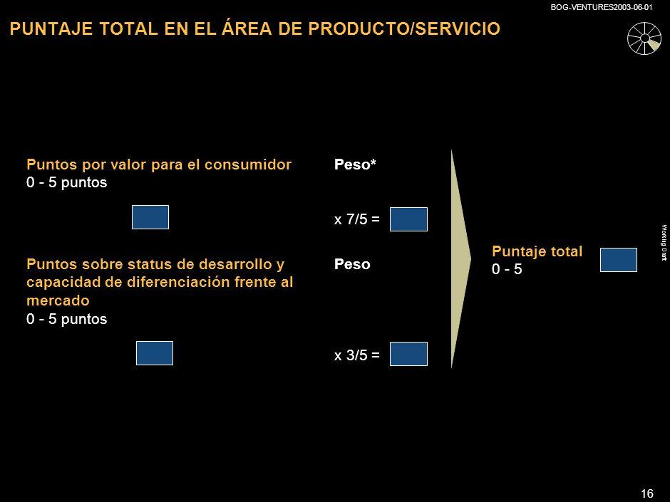 PUNTAJE TOTAL EN EL ÁREA DE PRODUCTO/SERVICIO