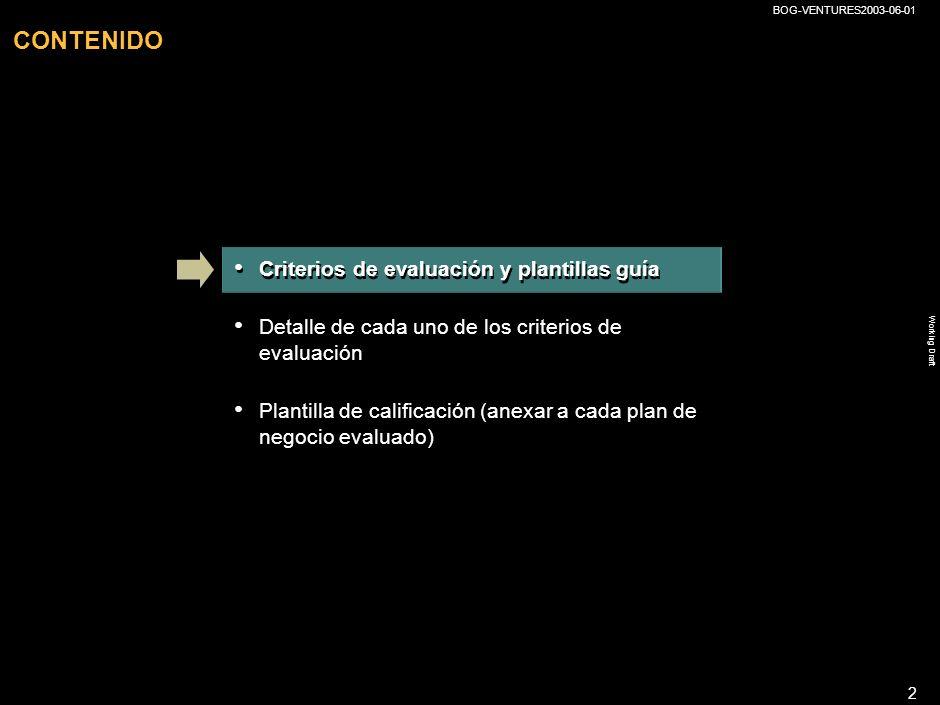 CONTENIDO Criterios de evaluación y plantillas guía