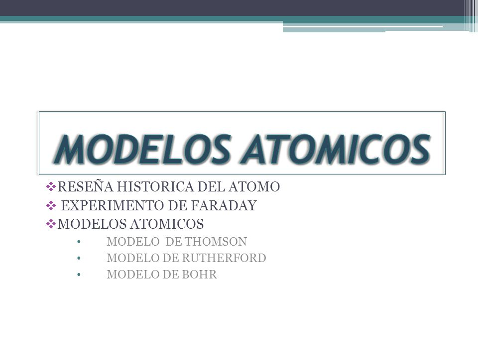 MODELOS ATOMICOS RESEÑA HISTORICA DEL ATOMO EXPERIMENTO DE FARADAY