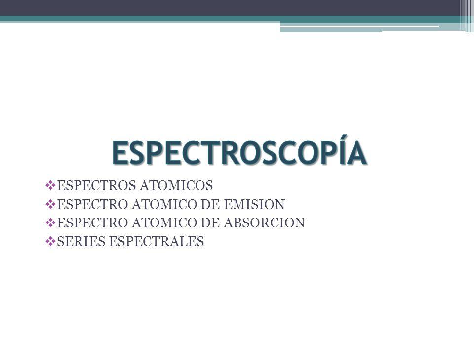 ESPECTROSCOPÍA ESPECTROS ATOMICOS ESPECTRO ATOMICO DE EMISION
