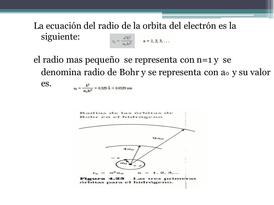 La ecuación del radio de la orbita del electrón es la siguiente: el radio mas pequeño se representa con n=1 y se denomina radio de Bohr y se representa con a0 y su valor es.