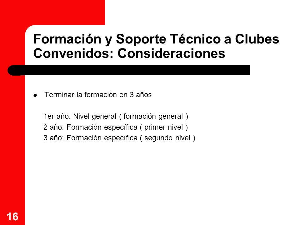 Formación y Soporte Técnico a Clubes Convenidos: Consideraciones