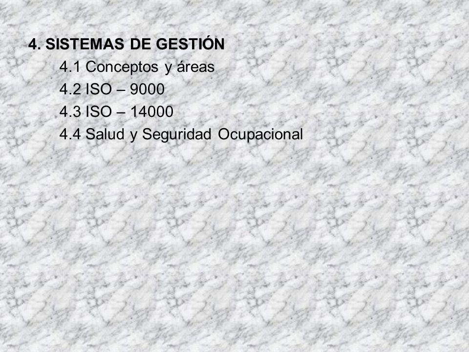 4. SISTEMAS DE GESTIÓN 4.1 Conceptos y áreas. 4.2 ISO – 9000.