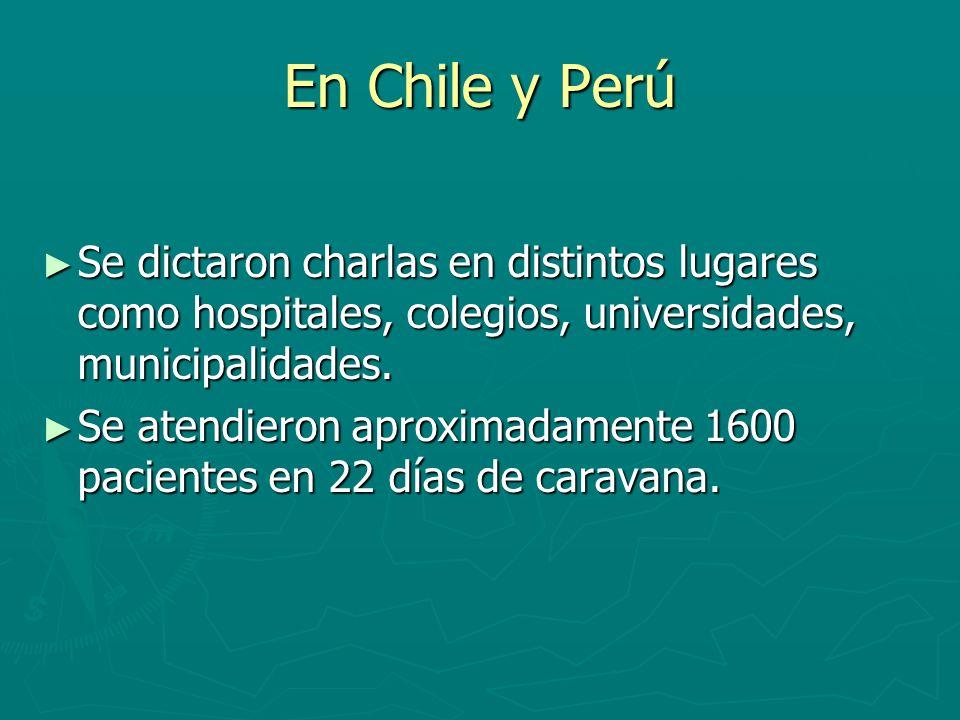 En Chile y Perú Se dictaron charlas en distintos lugares como hospitales, colegios, universidades, municipalidades.