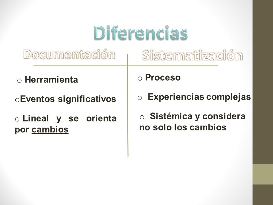 Diferencias Sistematización Documentación Proceso Herramienta