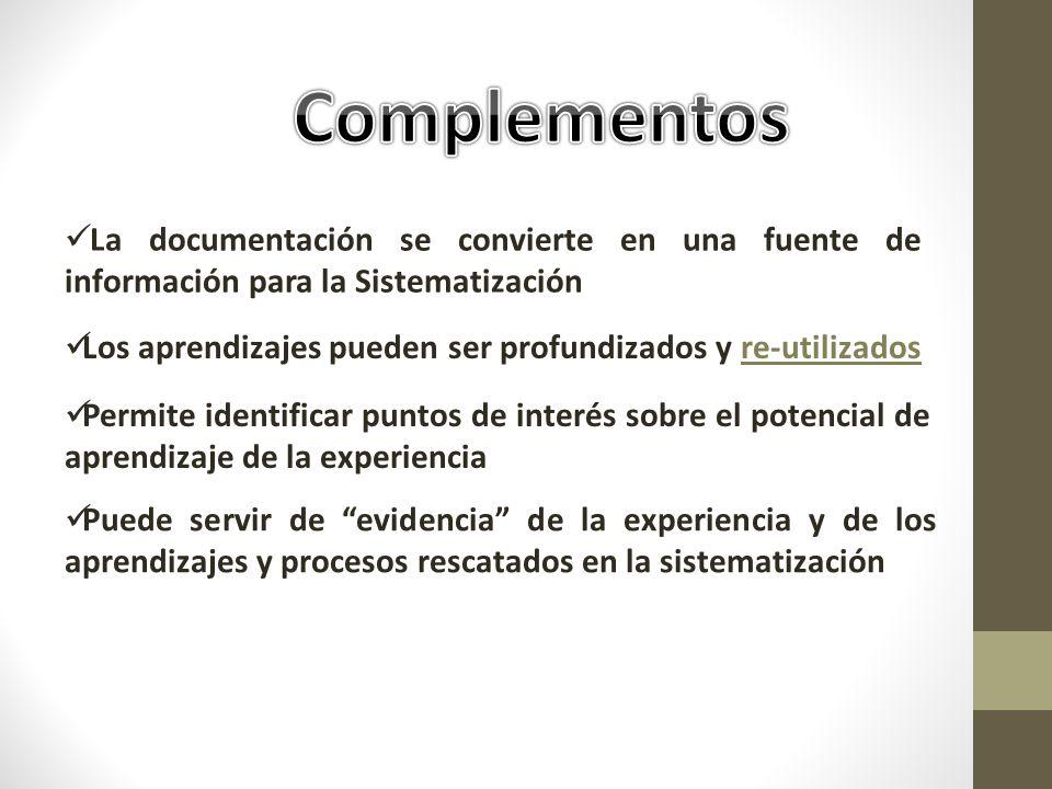 Complementos La documentación se convierte en una fuente de información para la Sistematización.