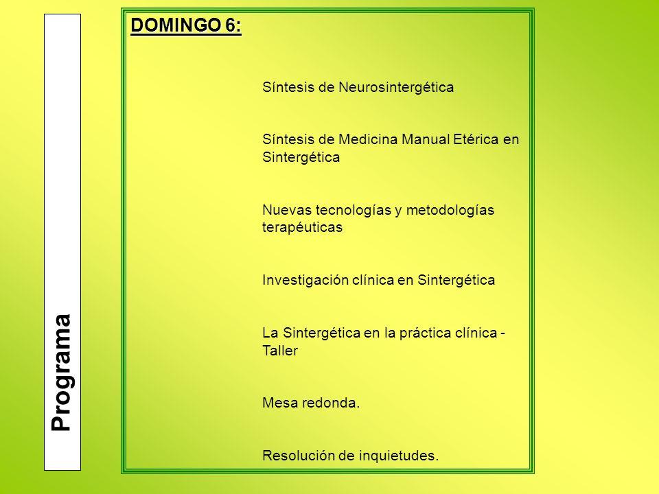 Programa DOMINGO 6: Síntesis de Neurosintergética