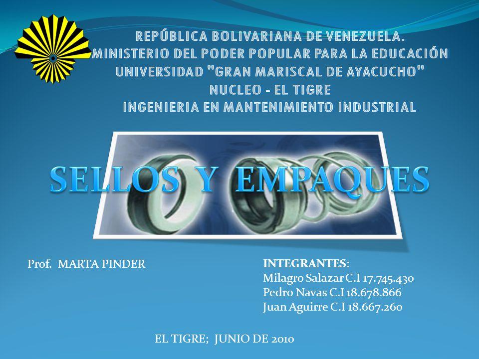 SELLOS Y EMPAQUES INTEGRANTES: Prof. MARTA PINDER