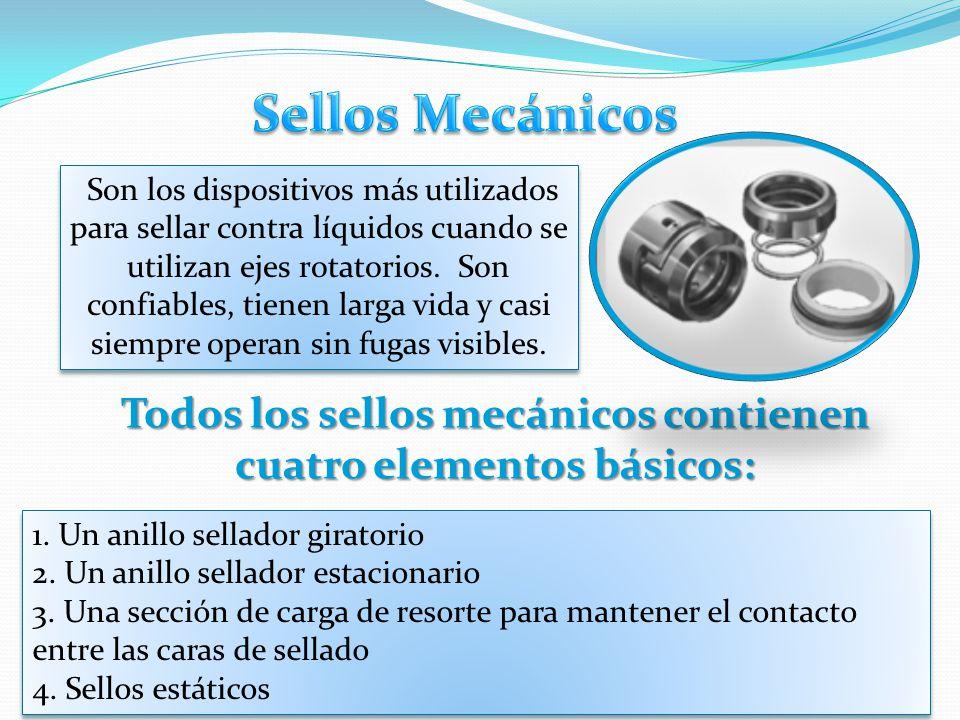 Todos los sellos mecánicos contienen cuatro elementos básicos: