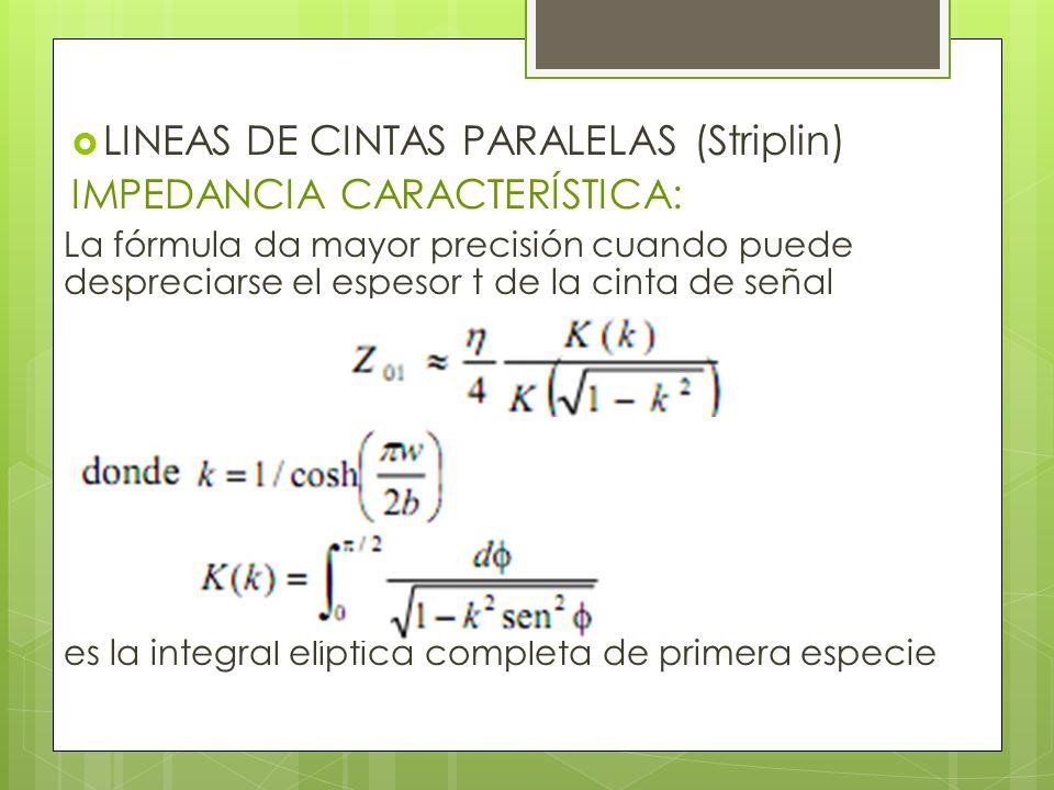 LINEAS DE CINTAS PARALELAS (Striplin) IMPEDANCIA CARACTERÍSTICA: