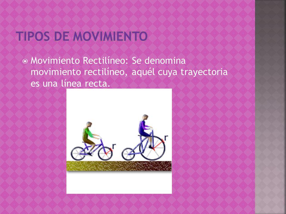 Tipos de movimiento Movimiento Rectilíneo: Se denomina movimiento rectilíneo, aquél cuya trayectoria es una línea recta.