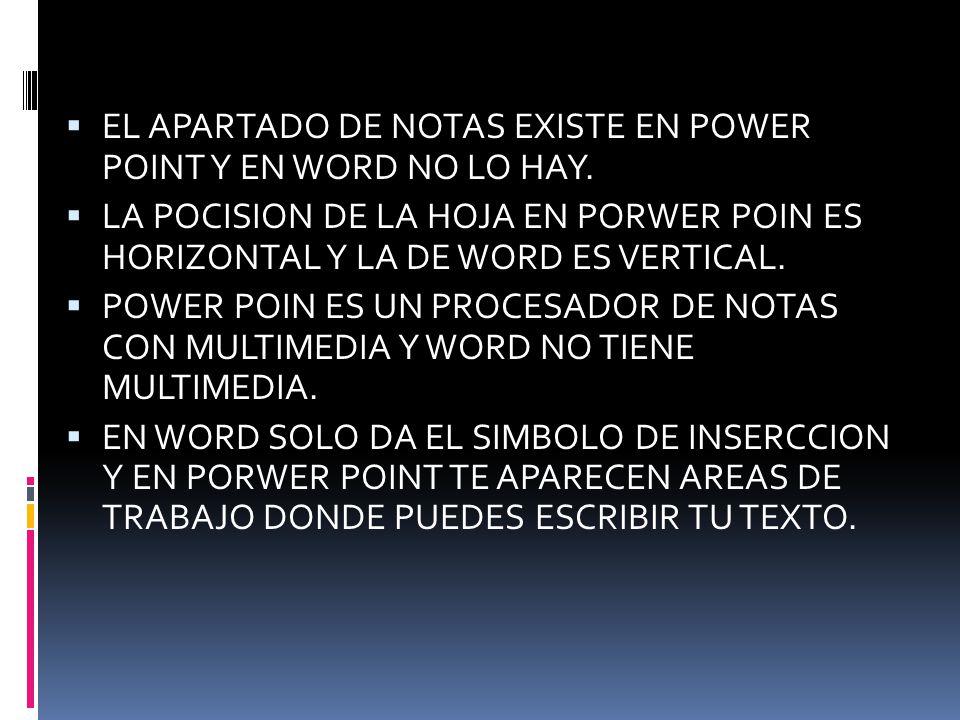 EL APARTADO DE NOTAS EXISTE EN POWER POINT Y EN WORD NO LO HAY.