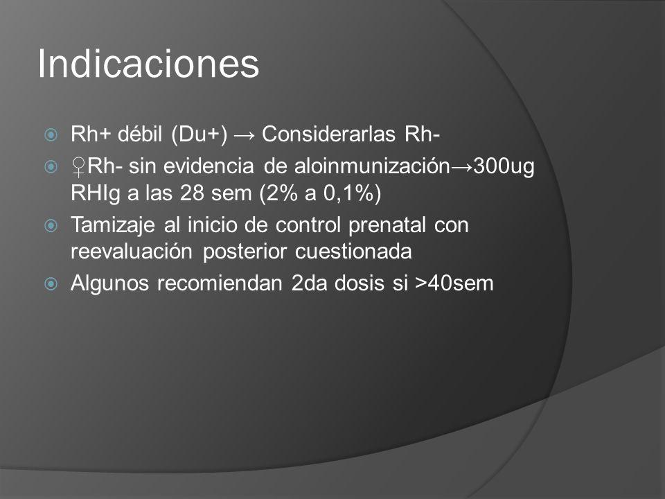 Indicaciones Rh+ débil (Du+) → Considerarlas Rh-