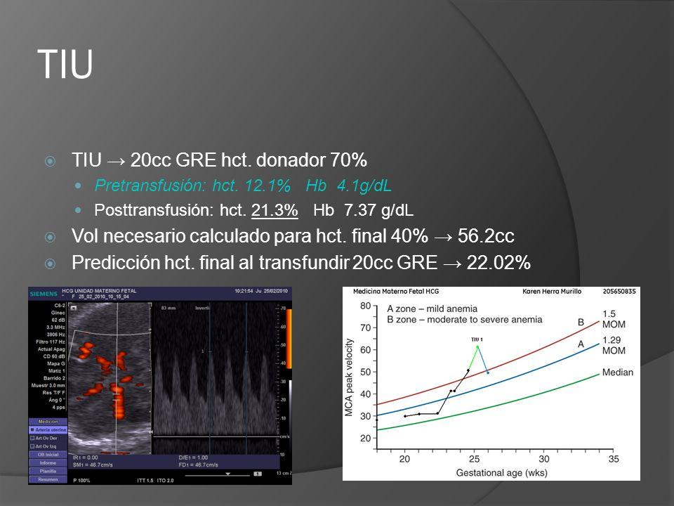 TIU TIU → 20cc GRE hct. donador 70%