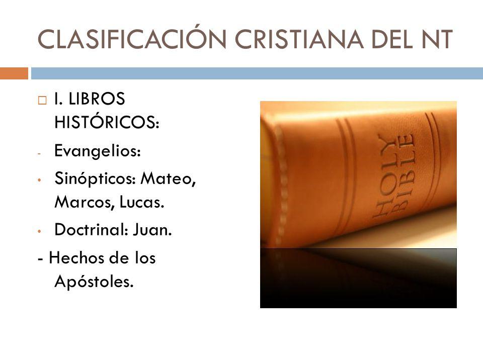 CLASIFICACIÓN CRISTIANA DEL NT
