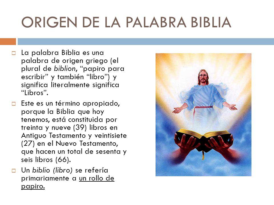 ORIGEN DE LA PALABRA BIBLIA