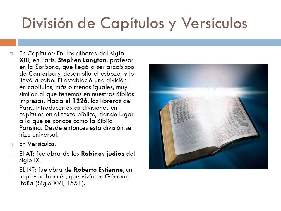 División de Capítulos y Versículos