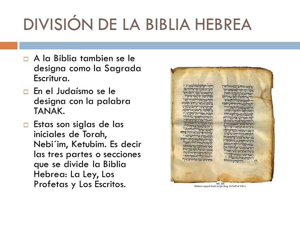 DIVISIÓN DE LA BIBLIA HEBREA