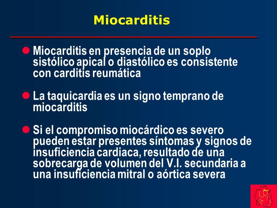 Miocarditis Miocarditis en presencia de un soplo sistólico apical o diastólico es consistente con carditis reumática.