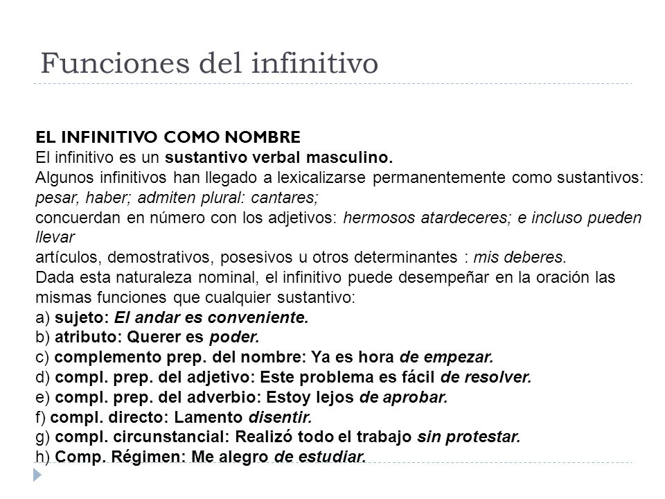 Funciones del infinitivo