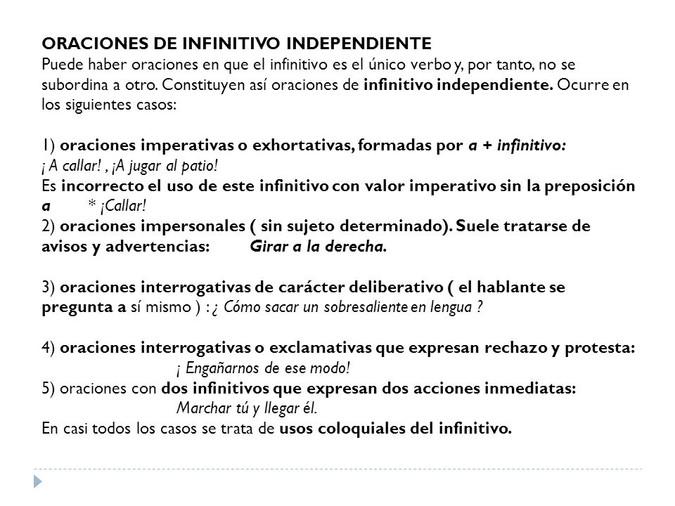 ORACIONES DE INFINITIVO INDEPENDIENTE