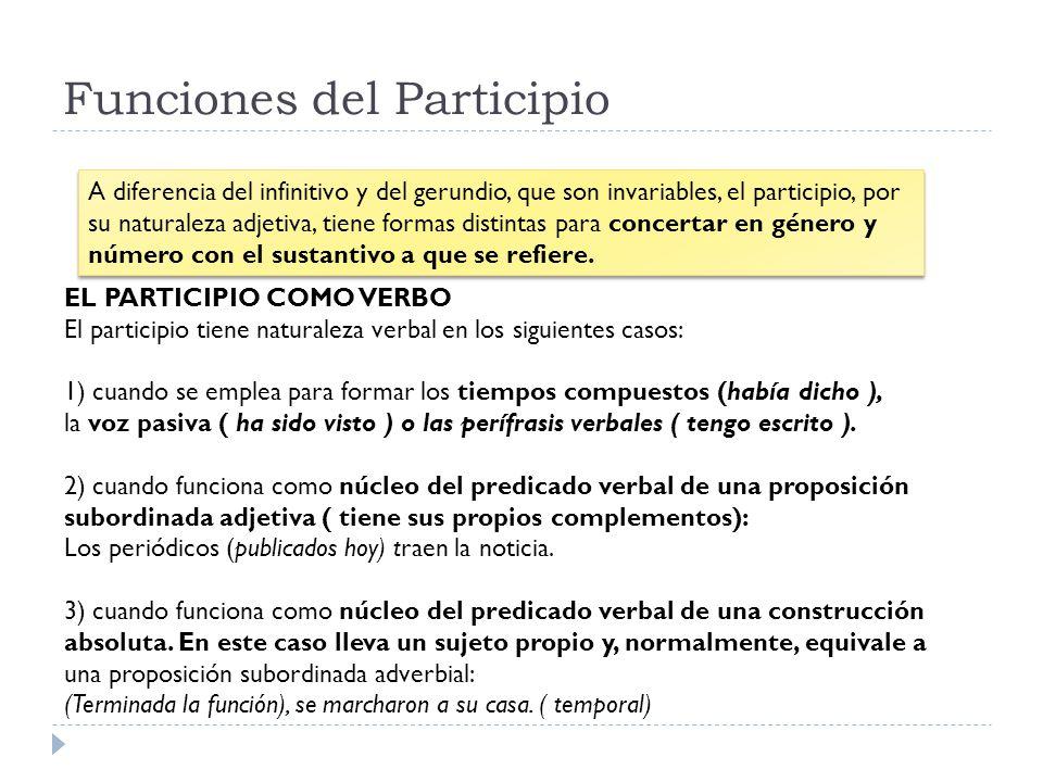 Funciones del Participio