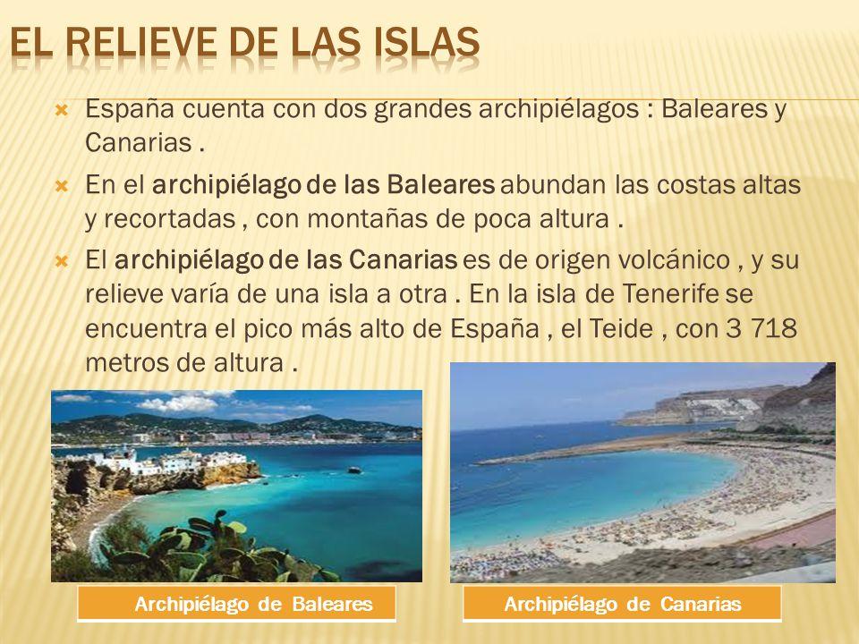 EL RELIEVE DE LAS ISLAS España cuenta con dos grandes archipiélagos : Baleares y Canarias .