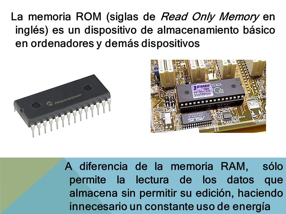 La memoria ROM (siglas de Read Only Memory en inglés) es un dispositivo de almacenamiento básico en ordenadores y demás dispositivos