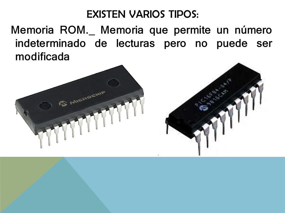 existen varios tipos: Memoria ROM._ Memoria que permite un número indeterminado de lecturas pero no puede ser modificada.