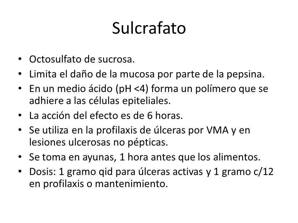 Sulcrafato Octosulfato de sucrosa.