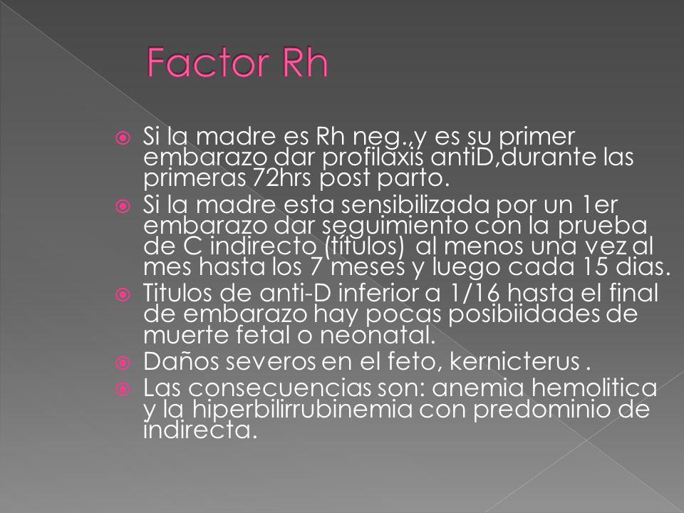 Factor Rh Si la madre es Rh neg.,y es su primer embarazo dar profilaxis antiD,durante las primeras 72hrs post parto.