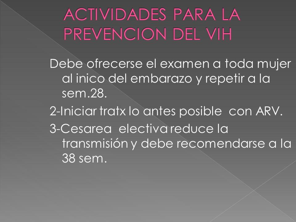 ACTIVIDADES PARA LA PREVENCION DEL VIH