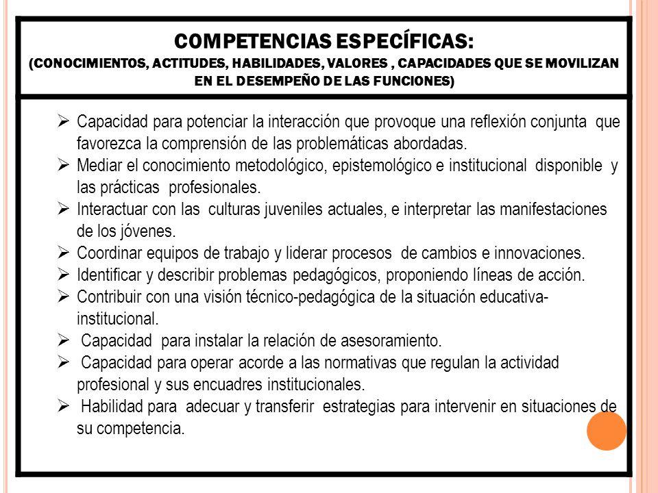 COMPETENCIAS ESPECÍFICAS: