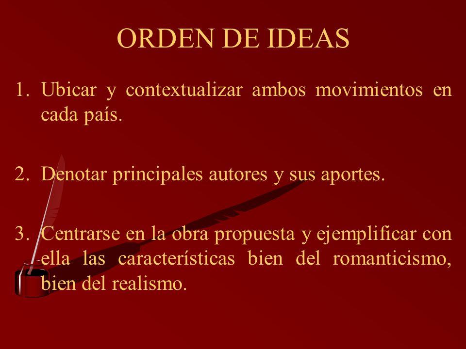 ORDEN DE IDEAS Ubicar y contextualizar ambos movimientos en cada país.