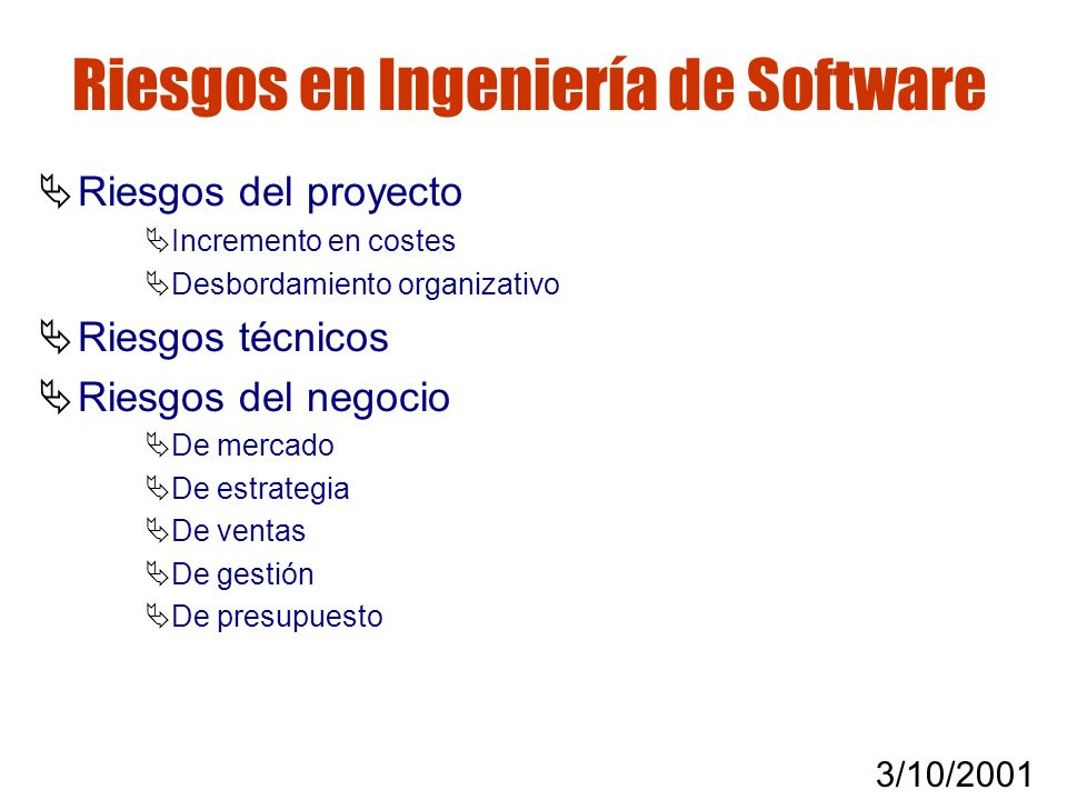 Riesgos en Ingeniería de Software