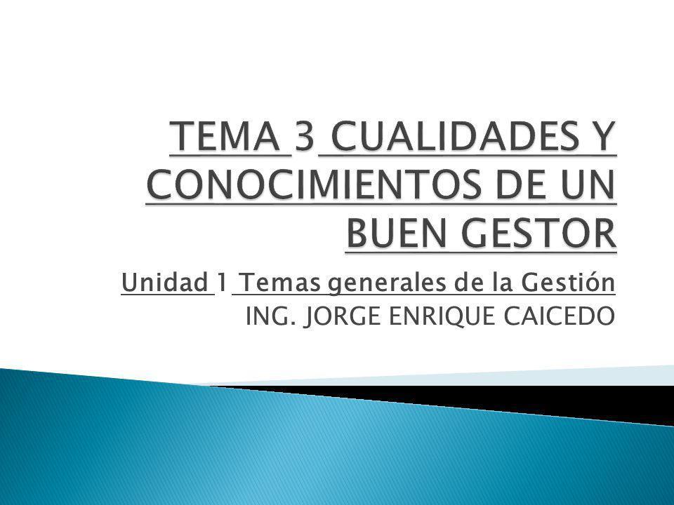 TEMA 3 CUALIDADES Y CONOCIMIENTOS DE UN BUEN GESTOR