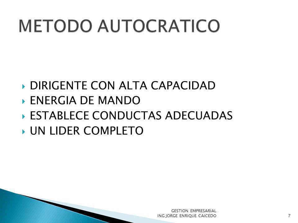 METODO AUTOCRATICO DIRIGENTE CON ALTA CAPACIDAD ENERGIA DE MANDO