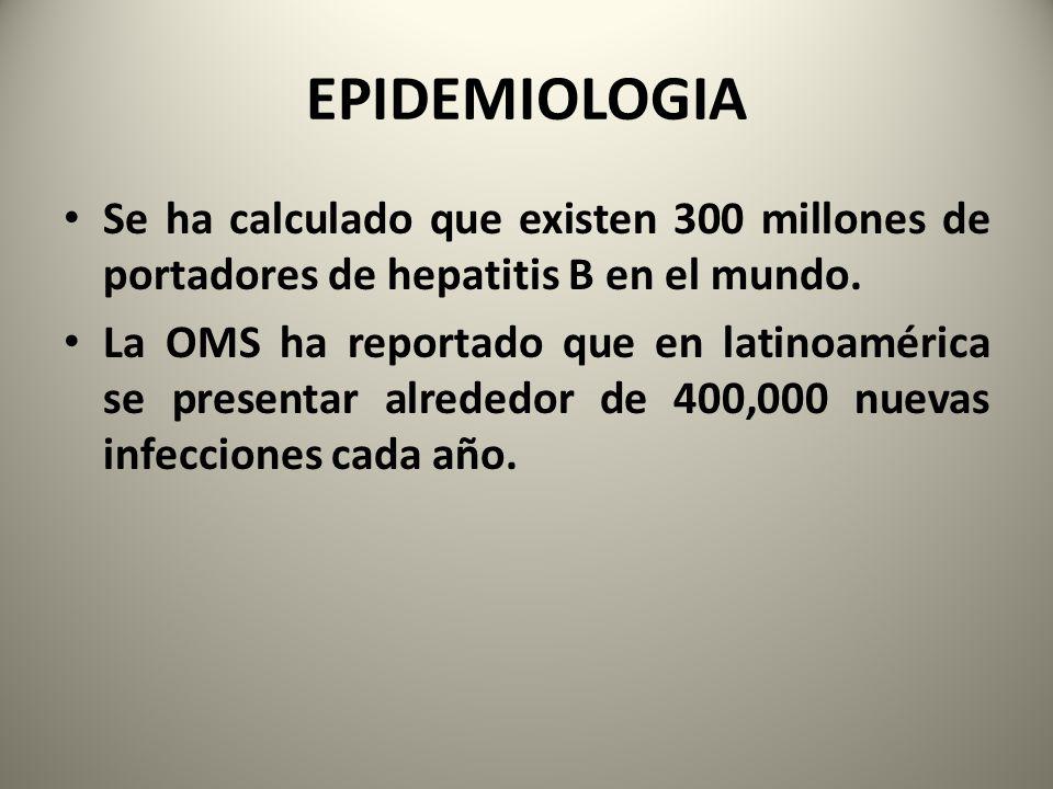EPIDEMIOLOGIA Se ha calculado que existen 300 millones de portadores de hepatitis B en el mundo.