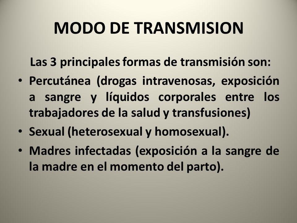 MODO DE TRANSMISION Las 3 principales formas de transmisión son: