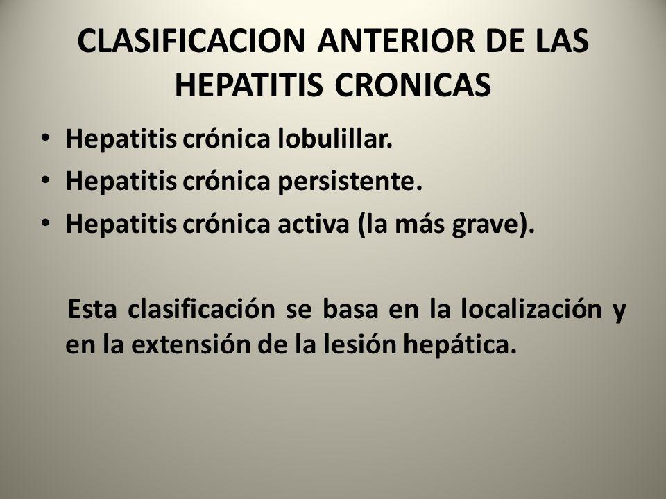 CLASIFICACION ANTERIOR DE LAS HEPATITIS CRONICAS
