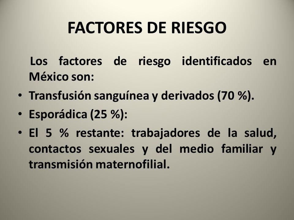 FACTORES DE RIESGO Los factores de riesgo identificados en México son: