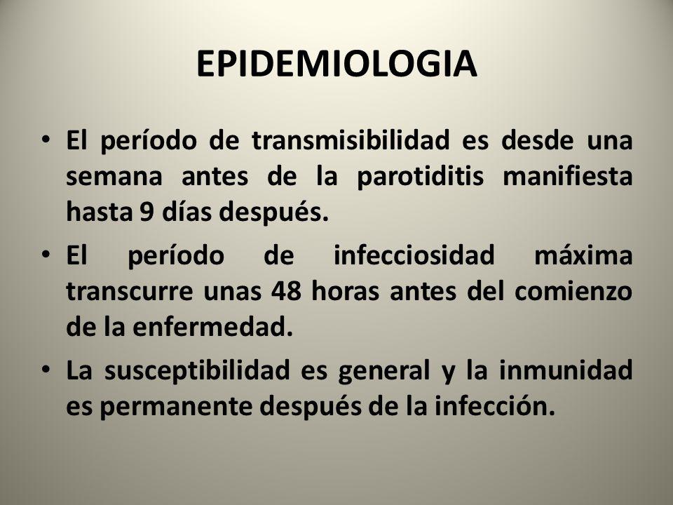EPIDEMIOLOGIA El período de transmisibilidad es desde una semana antes de la parotiditis manifiesta hasta 9 días después.