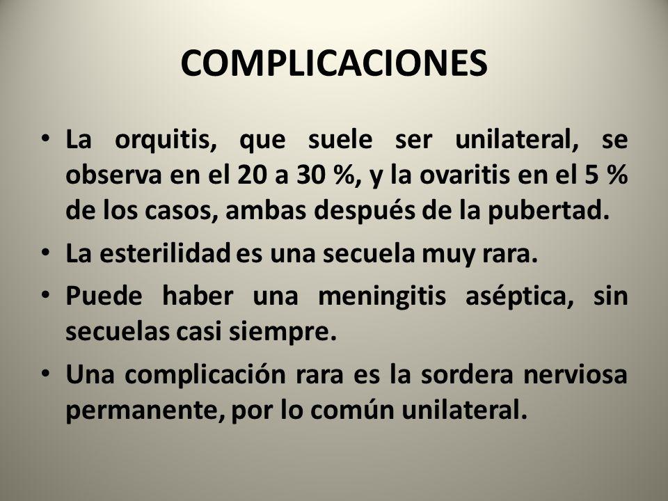 COMPLICACIONES La orquitis, que suele ser unilateral, se observa en el 20 a 30 %, y la ovaritis en el 5 % de los casos, ambas después de la pubertad.