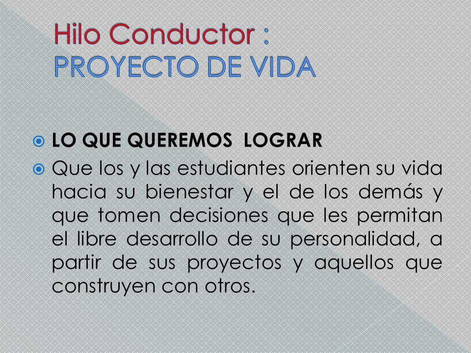 Hilo Conductor : PROYECTO DE VIDA