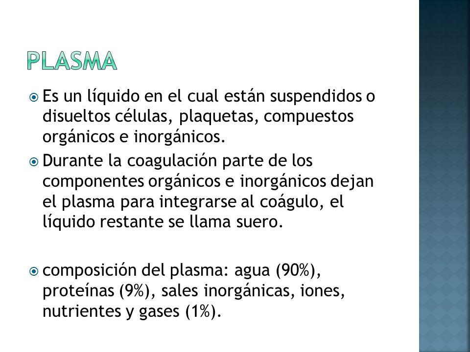 plasma Es un líquido en el cual están suspendidos o disueltos células, plaquetas, compuestos orgánicos e inorgánicos.