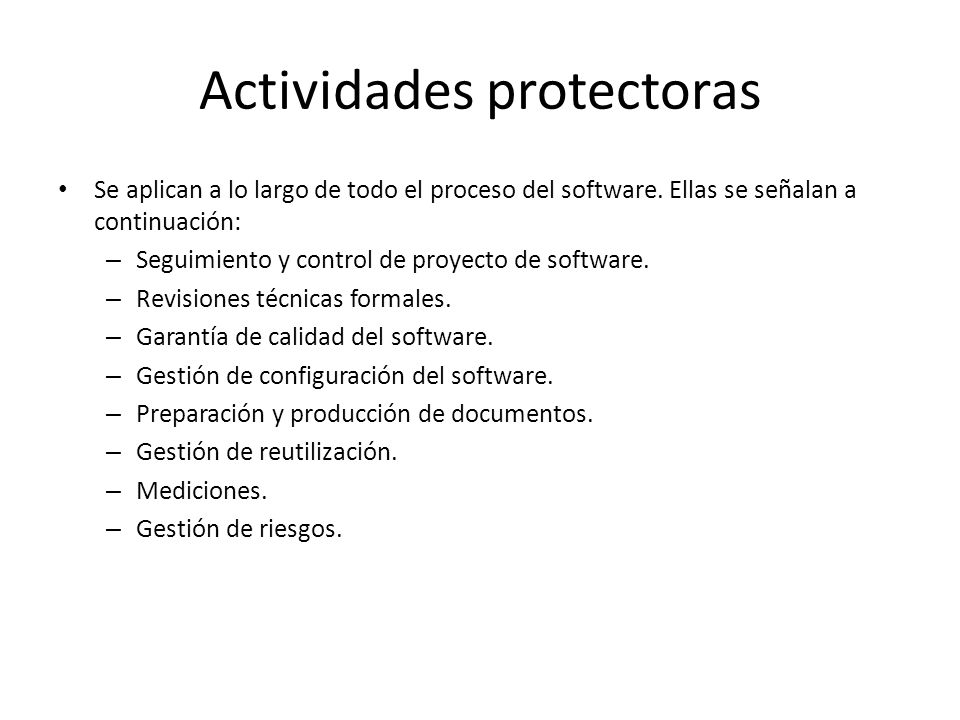 Actividades protectoras