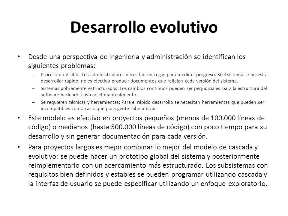 Desarrollo evolutivo Desde una perspectiva de ingeniería y administración se identifican los siguientes problemas:
