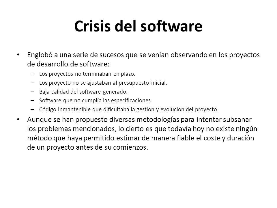 Crisis del software Englobó a una serie de sucesos que se venían observando en los proyectos de desarrollo de software: