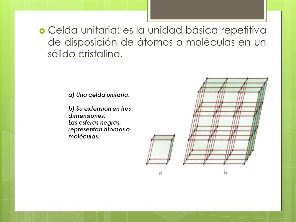 Celda unitaria: es la unidad básica repetitiva de disposición de átomos o moléculas en un sólido cristalino.