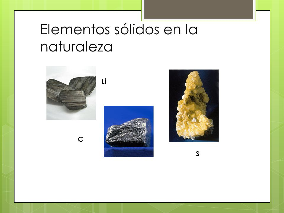 Elementos sólidos en la naturaleza